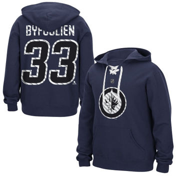 Dustin Byfuglien Winnipeg Jets Reebok Lace Up Name & Number Hockey Hoodie - Navy Blue