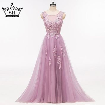 Sexy Sheer Beaded Sequins Dubai Prom Dresses 2017 New Fashionable Low Back Long Evening Gown Vestido De Festa Longo Real Picture