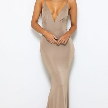 Glowing Goddess Nude Sleeveless Spaghetti Strap Plunge V Neck Ruched Back Mermaid Maxi Dress