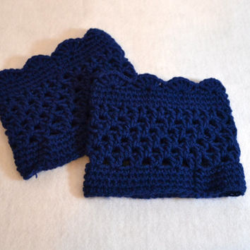 Navy Boot Cuff, Shell Crochet, knit boot sock, boot liner, Leg warmers,
