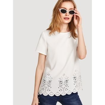 White Scalloped Laser Cut Top