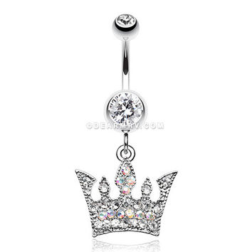 Regal Crown Belly Button Ring (Clear)