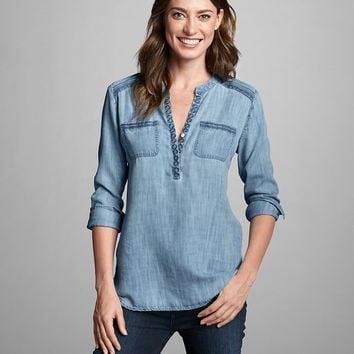 Women's Tranquil Embroidered Tunic - Indigo | Eddie Bauer