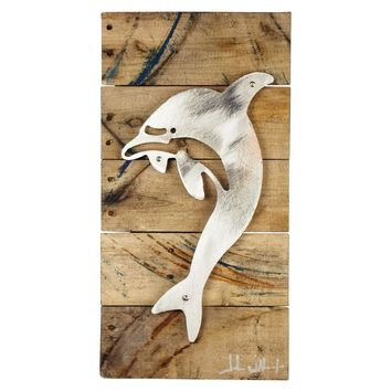 Tri-Delta Dolphin Wood & Shaped Metal Art Wall Decor