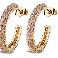 Hoop earrings-Gold large hoop earrings-Women Hoop Earrings-Solid gold hoop earrings-White zircon earrings