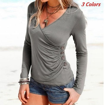 Women's Autumn Slim Deep V-neck Long Sleeve Folding Four Buttons Solid T-shirt [8833573644]