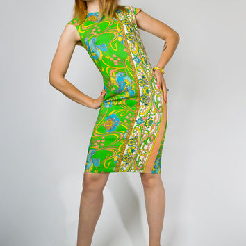 Vintage 60s Pucci Style Green Floral Shift Day Dress // 1960s Psychedelic Art Nouveau Abstract Striped Panel Mini (S M)