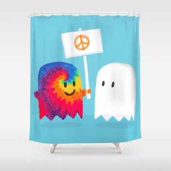 Hippie ghost Shower Curtain by Budi Satria Kwan