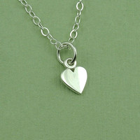 Tiny Heart Necklace - sterling silver heart jewelry - charm necklace - gift