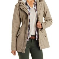 Khaki Sherpa-Hooded Anorak Coat by Charlotte Russe