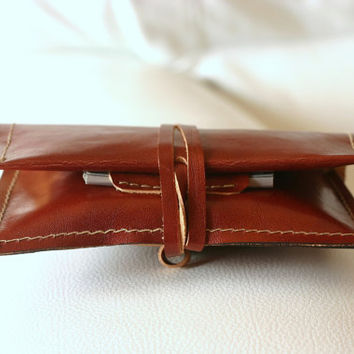 Leather tobacco pouch. Handmade tobacco pouch. Veg tan leather