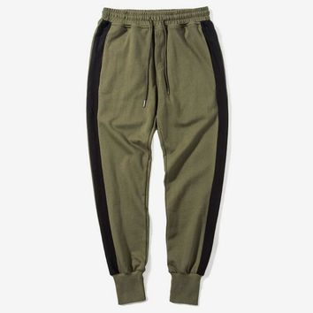 Side Stripe Contrast Color Men Casual Jogger Pants Elastic Waist Streetwear Mens Harem Joggers Army Green