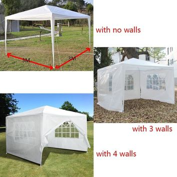10'x10' Outdoor Canopy Party Wedding Tent Heavy Duty Gazebo Pavilion White with 4/3/no Walls