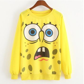 SpongeBob Hoodies Women Autumn Winter Long Sleeve funny Hoody Lovely Cartoon 3D Minions Print Sweatshirts moleton feminino