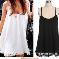 Spaghetti Strap Hollow Out Lace Sleeveless One Piece Dress [4915010564]