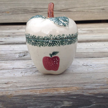 Vintage Apple Butter or Jam Pot with Country Apple Design in Ivory Red and Green