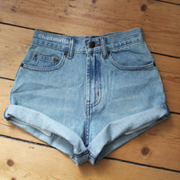 "ALL SIZES ""TURN"" Vintage high-waisted denim shorts blue cuffed rolled turn up jeans"