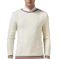 Beige Contrast Stripe Ribbed Trim Knitted Sweater