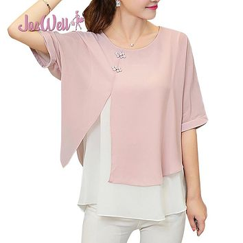 JasWell New Fashion Summer Loose Casual Women Chiffon Blouses Shirt Batwing Short Sleeve Two Layer Ladies Tops Buttons Blusas