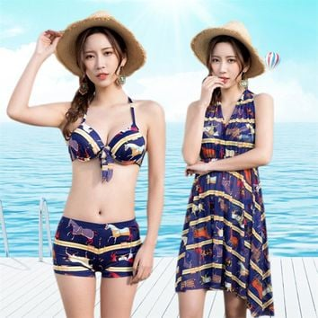 3 Pieces Women Swimsuit 2018 Sexy Swimwear Bikini Set + Cover Ups Brazilian Painting Print Beach Suit
