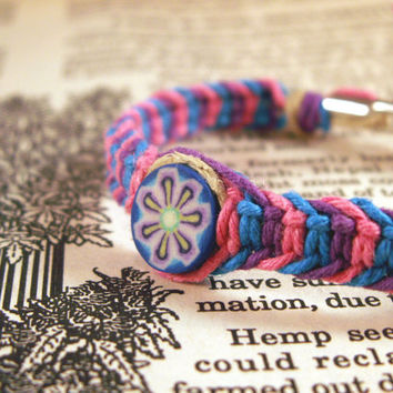 Purple Pink and Blue Roach Clip Hemp Bracelet with hippie floral clay bead - Roach Clip Jewelry 420