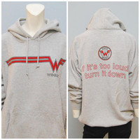 "Vintage 1995 Weezer Hoodie ""If It's Too Loud, Turn It Down"" Gray Size XL Worn-In Comfortable Grunge Rock Band Concert Sweatshirt Pullover"