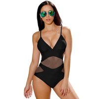 Women Push Up Backless Mesh One Piece Swimsuit