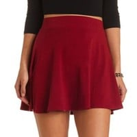 High-Waisted Cotton Skater Skirt by Charlotte Russe - Burgundy