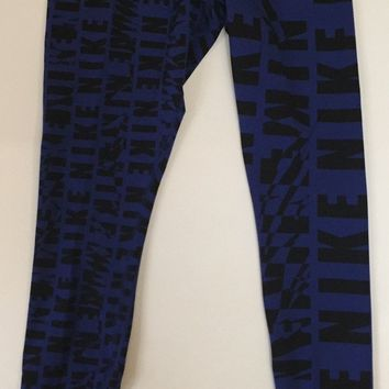 KUYOU Nike Womens Print Leggings Blue Black 725794-455