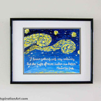 Quote Prints Vincent Van Gogh Prints Starry Night - Dream Quotes Abstract Art Prints - Inspirational Quotes Nursery Print Art Whimsical Art