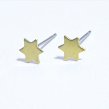 Tiny Brass Star Stud Earrings, Star Studs, Surgical Steel Star Earrings, Brass Earrings