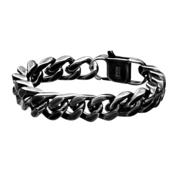 316L Stainless Steel Oxidized Antique 13mm Cuban Curb Bracelet 8.5""