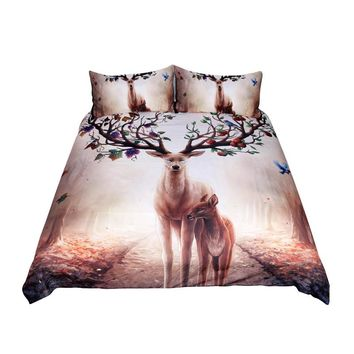 Floral Deer Bedding Set (Super Soft Duvet Cover with Pillowcases)