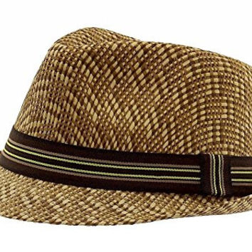 Henschel Men's Vented Two-Tone Wheat Straw Fedora Hat Sz: L