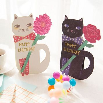 1 Pcs Cat And Flowers Greeting Message Card