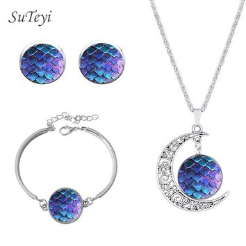 SUTEYI Game Thrones Dragon Egg Necklace Glass Stud Earrings Art Picture Necklaces & Pendant Bracelet Silver Color Jewelry Set