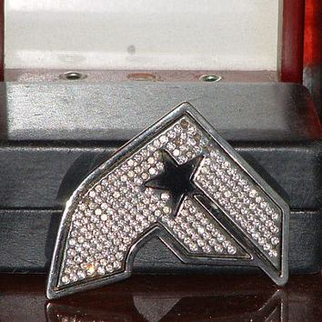 Pre Owned Famous Stars & Stripes ( F )Rhinestone Metal Belt Buckle (Missing Stones)