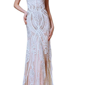 Thread and needle embroidered off white Royal sheer lace long dress prom dress, gala dress, special occasion, wedding dress, maxi gown