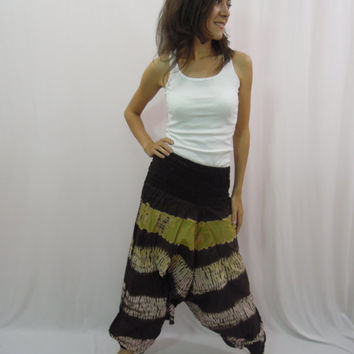 Tie Dye Harem Pants , Drop Crotch Pants , Yoga Pants , Thai Pants , Baggy pants , Hippie Gypsy pants , One size