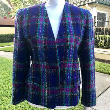 TALBOTS PETITES Women's Wool Blend Plaid Suit Jacket Blazer, Size 8
