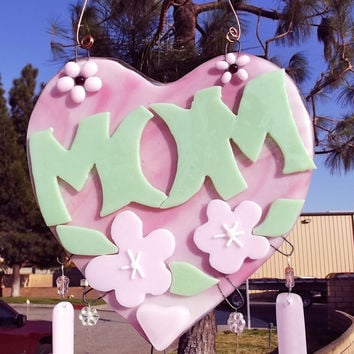 Fused Glass Island Flowers Green Pink White For Easter Mother's Day  Valentines Wind Chime LI104