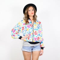 Vintage Bomber Jacket Windbreaker Jacket White Floral Print Coat Rainbow Floral Print Jacket Slouch Fit New Wave Jacket 1980s 80s M Medium