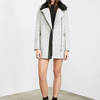 FOREVER 21 Faux Fur Collared Zippered Coat Heather Grey
