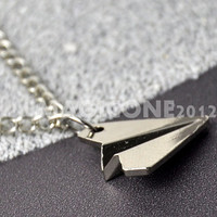 Paper Airplane Necklace . Silver Paper Airplane Necklace . Harry Styles Airplane Necklace . Silver Airplane . Unisex Gift for Teen Teenager