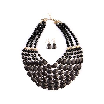 Beaded Statement Necklace Set