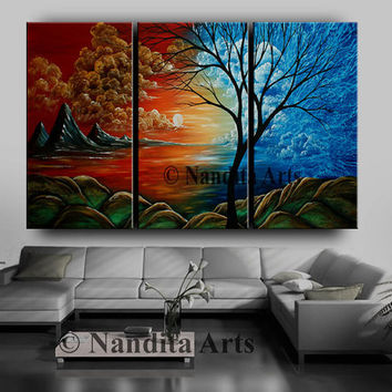 ABSTRACT LANDSCAPE PAINTING on canvas, Large landscape, Nature Art, Tree, Sunsets, Canvas wall art orange, red, blue scenic huge Artwork