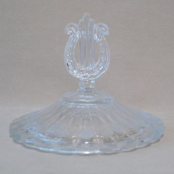 REPLACEMENT LID - Vintage 80's Clear Cut Crystal Candy Dish Lid with Laurel Pattern, Scalloped Edge Design & Harp Handle, Leaded Crystal