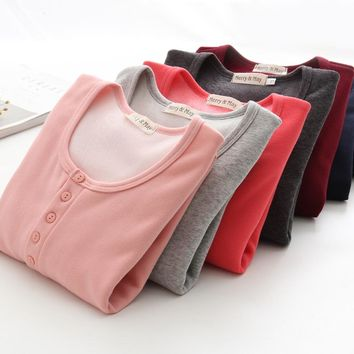 simple large size women winter warm velvet T shirt thermal cashmere high quality thick tops lady O neck long sleeve shirt D142