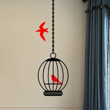 wall decal bird cage with birds master bed room wall decor | vinylgraffiti - Housewares on ArtFire