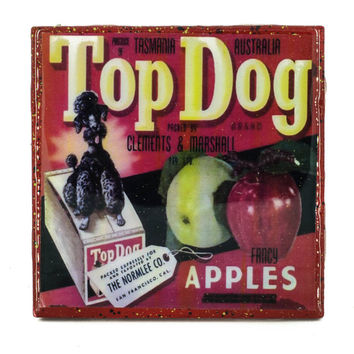 Handmade Coaster Top Dog Apples Brand - Vintage Citrus Crate Label - Handmade Recycled Tile Coaster